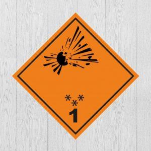 Наклейка Опасный груз Класс 1.1, 1.2, 1.3. Знак взрывчатые вещества и изделия