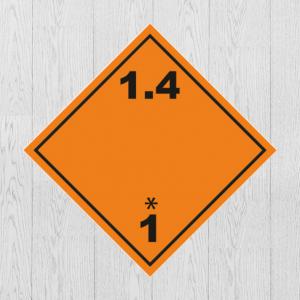 Наклейка Опасный груз Класс 1.4. Знак взрывчатые вещества и изделия