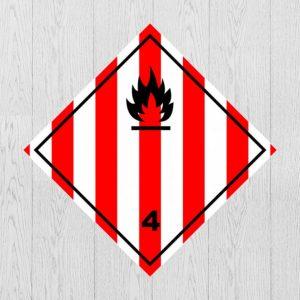 Наклейка Опасный груз Класс 4.1. Легковоспламеняющиеся твёрдые вещества