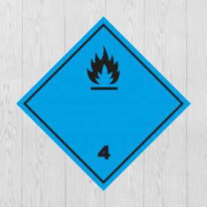 Наклейка Опасный груз Класс 4.3. Вещества, выделяющие легковоспламеняющиеся газы при соприкосновении с водой
